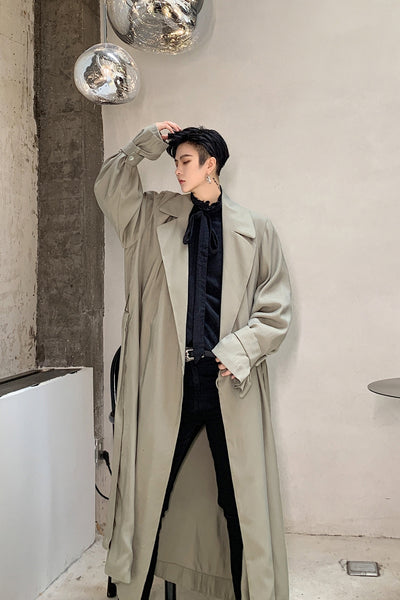 Lapel loose drape mid-length retro oversize casual jacket