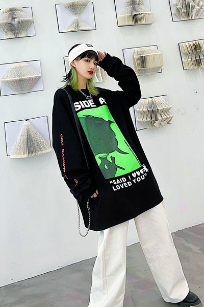 loose oversize printed Cotton top