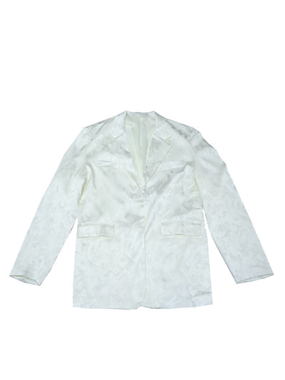 milky white conventional suit jacket