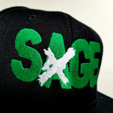 "Sage Francis ""A Healthy Distrust"" Logo GREEN-on-BLACK Snapback"