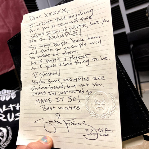 Sage Francis - $20 Personal Handwritten LETTER from Sage