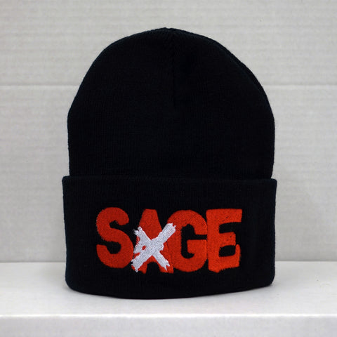 SAGE FRANCIS 'A Healthy Distrust' BLACK Folded Brim Knit Hat