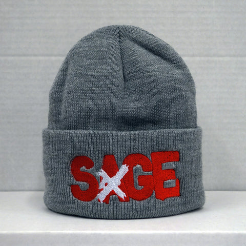 SAGE FRANCIS 'A Healthy Distrust' RED-on-GREY Folded Brim Knit Hat