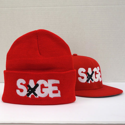 SAGE FRANCIS 'A Healthy Distrust' RED Snapback+Knit Hat 2-PACK