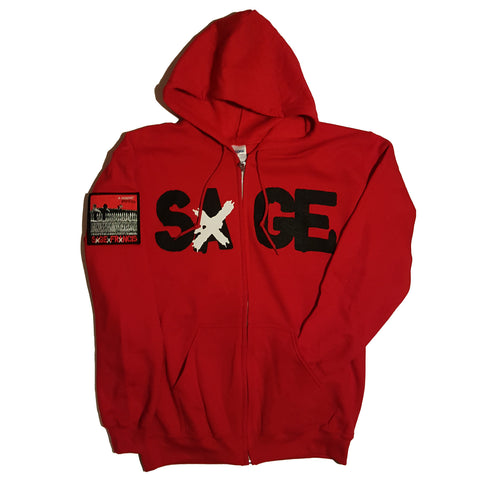 "Sage Francis ""A Healthy Distrust"" RED Zip Hoodie"