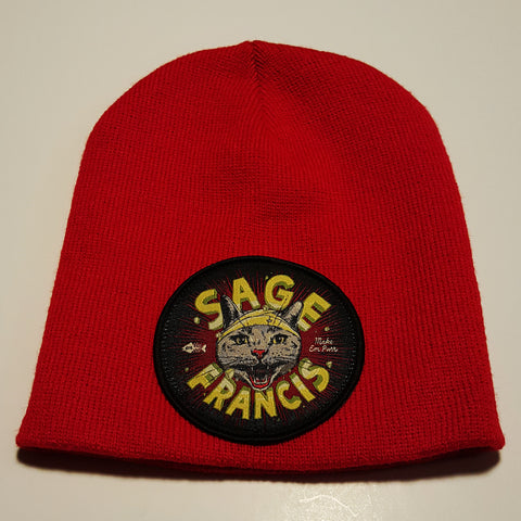 "Sage Francis ""Make Em Purr"" RED Knit Hat"