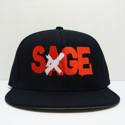 "Sage Francis ""A Healthy Distrust"" Logo RED-on-BLACK Snapback"