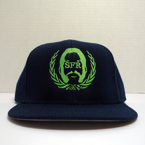 SFR Neon Green-on-Navy Blue Logo Snapback