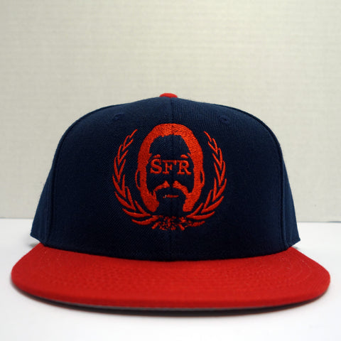 SFR Red-on-Navy Blue Logo CONTRAST BRIM Snapback