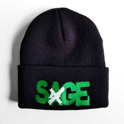 SAGE FRANCIS 'A Healthy Distrust' GREEN-on-BLACK Folded Brim Knit Hat