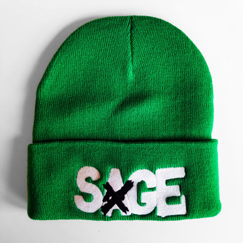 SAGE FRANCIS 'A Healthy Distrust' WHITE-on-GREEN Folded Brim Knit Hat
