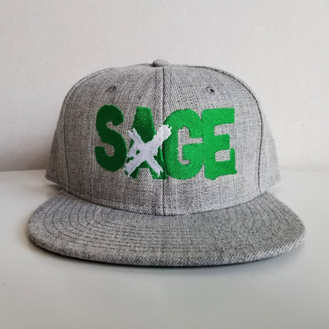 "Sage Francis ""A Healthy Distrust"" Logo GREEN-on-HEATHER GREY Snapback"
