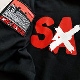 "Sage Francis ""A Healthy Distrust"" RED-on-BLACK Zip Hoodie"