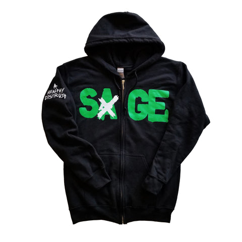 "Sage Francis ""A Healthy Distrust"" GREEN-on-BLACK Zip Hoodie"