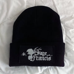 SAGE FRANCIS Logo BLACK Folded Brim Knit Hat with PATCH