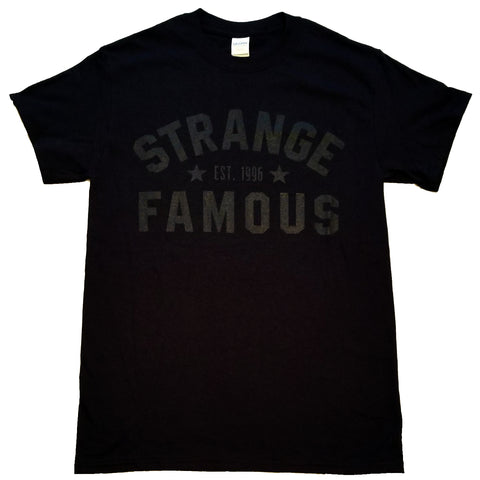 "Strange Famous ""Est. 1996"" Black-on-Black T-Shirt"