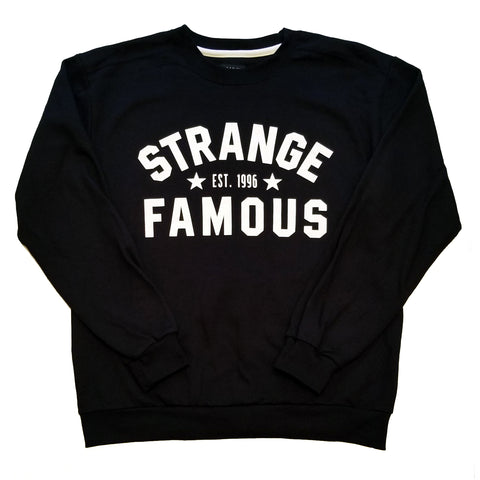 "Strange Famous ""Est. 1996"" Crewneck - WHITE-on-Black"