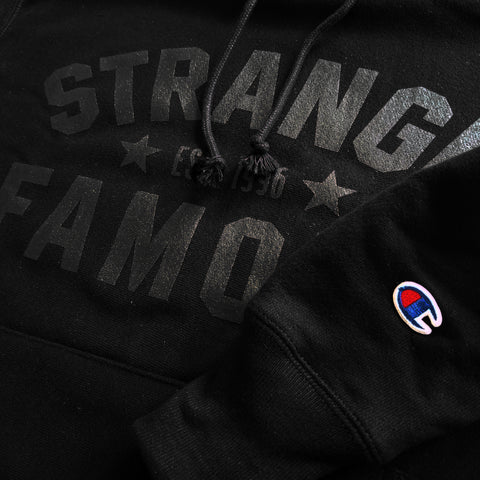 SFR x CHAMPION Black-on-Black Pullover Hoodie