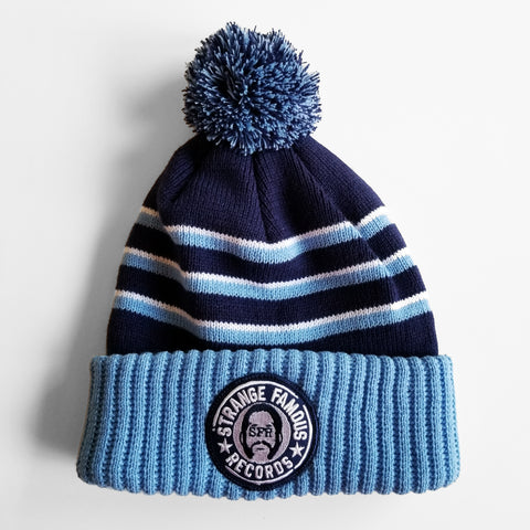 SFR Navy-and-Light Blue Stripe Ribbed Brim Knit Hat