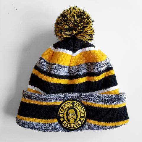 SFR Gold-and-Black Stripe Fleece-Lined Knit Hat