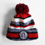 SFR Navy Blue-and-Red Stripe Fleece-Lined Knit Hat