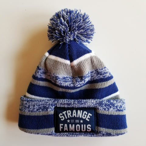 SFR Royal Blue-and-Grey Stripe Fleece-Lined Knit Hat - ARCH LOGO