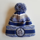 SFR Royal Blue-and-Grey Stripe Fleece-Lined Knit Hat