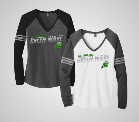 EGF Green Wave Long Sleeve V-Neck - Ladies