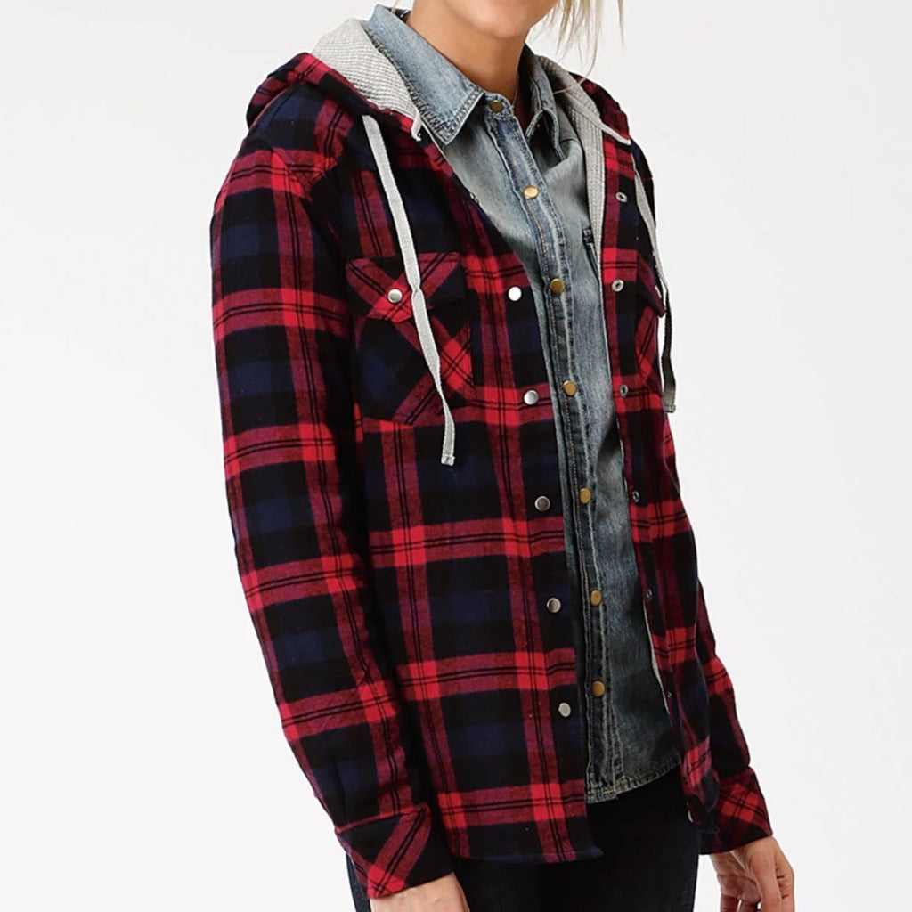 A cotton flannel shirt jacket made by Roper.