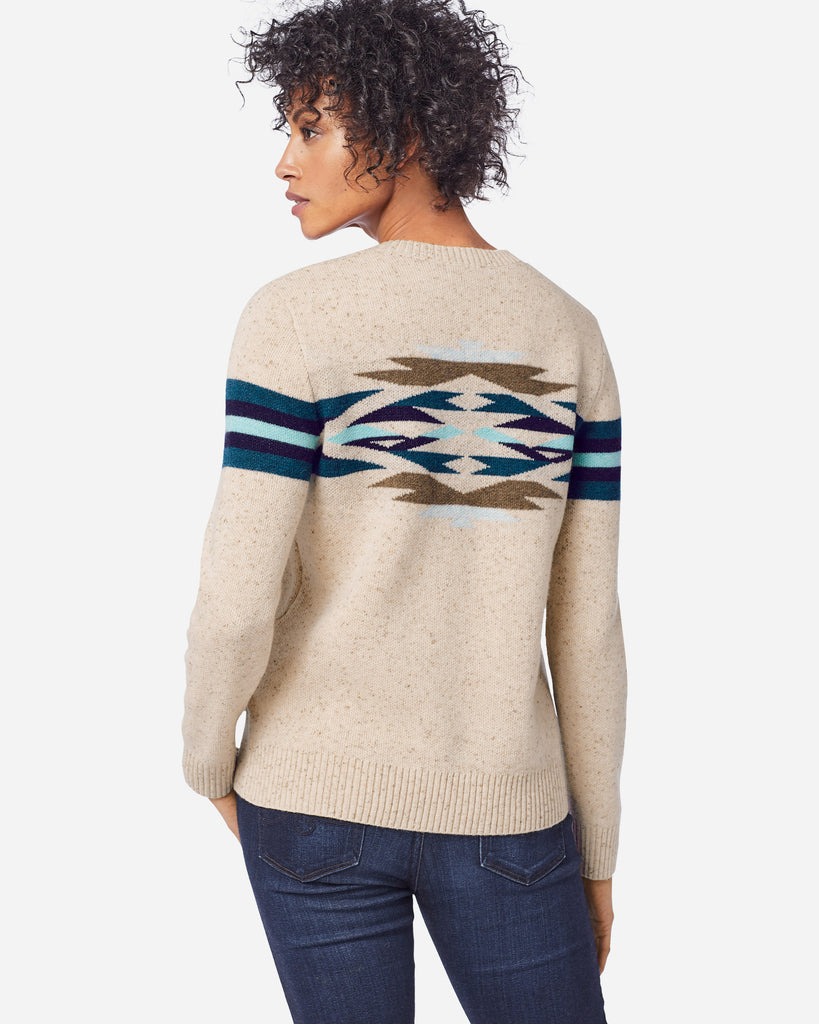 Women's pullover sweater in a flecked, Donegal-inspired knit with perfectly placed motifs front and back. Warm lambswool blended with durable nylon and soft merino.  Made by Pendleton.