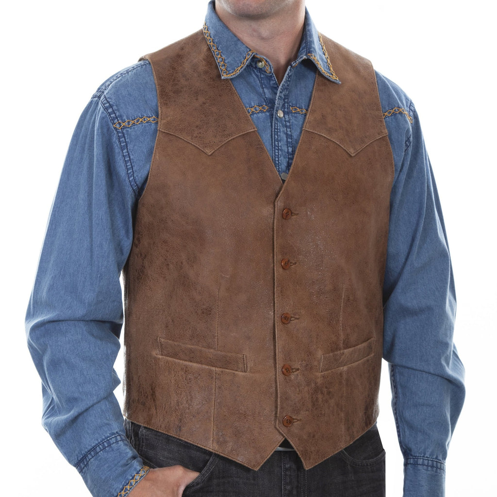 This Scully traditional western leather vest features single point yokes, a five button front closure and two lower welt pockets.