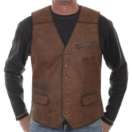 Leather + Canvas Back Vest by Scully