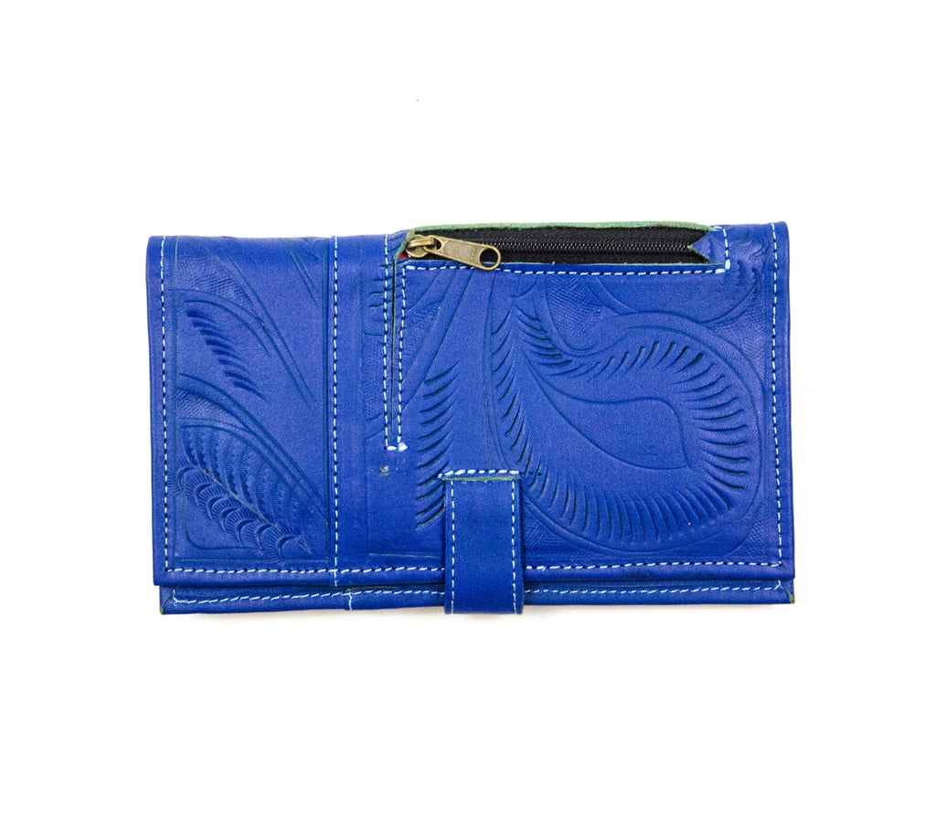 Tooled Magnet Close Wallet: Indigo - headwestbozeman