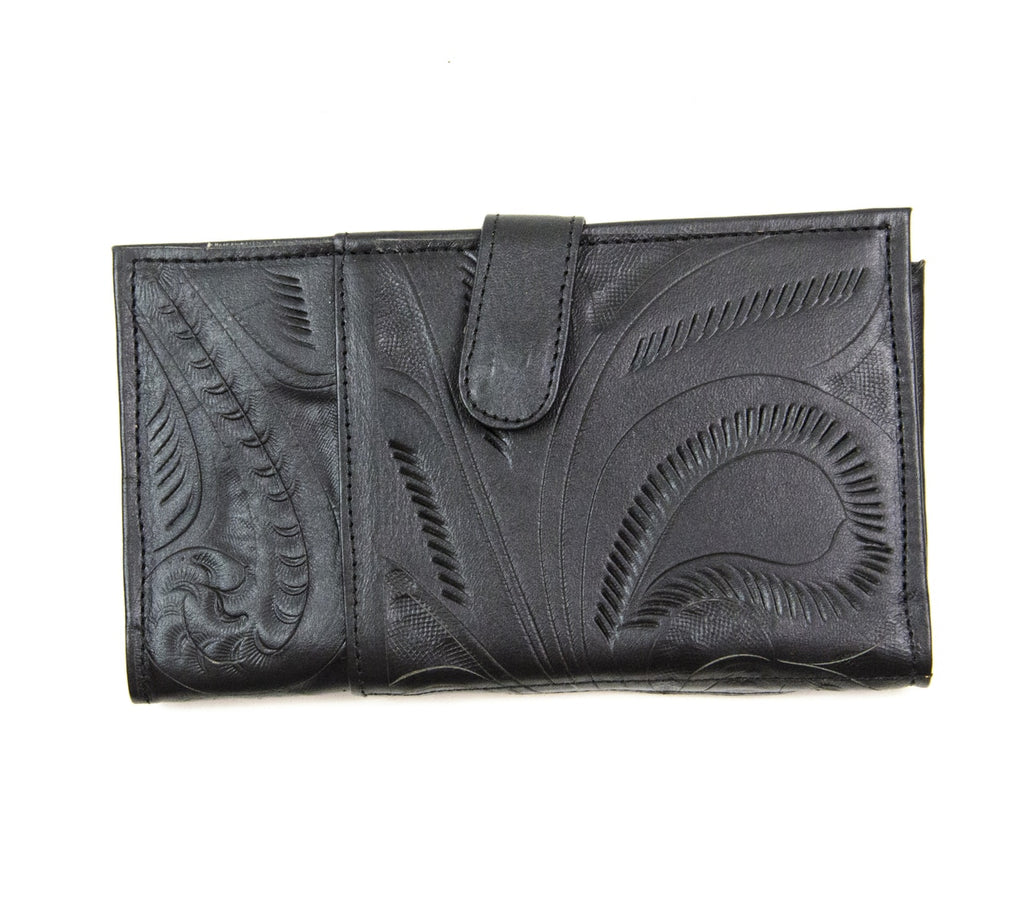 Tooled Magnet Close Wallet: Black - headwestbozeman