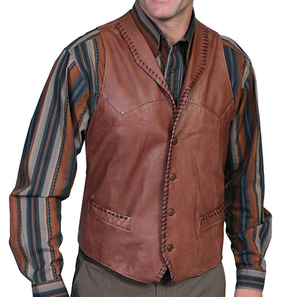 Scully Leather Trailrider Vest Whip Stitch Trim Front and Back Yokes, Cowboy Style, Wedding Vests, Western Wear, Head West Bozeman Montana