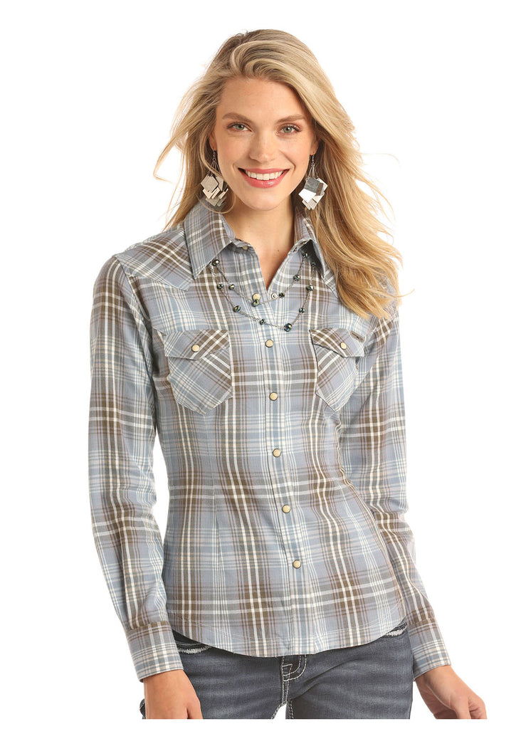 A soft and comfy brushed plaid top for women at Head West in Bozeman, Montana.
