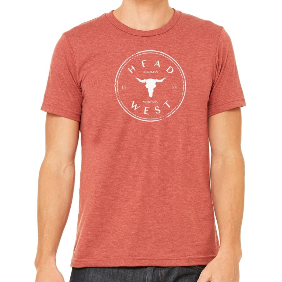 A Head West, Bozeman, Montana t-shirt. A unisex t-shirt locally designed in Montana.