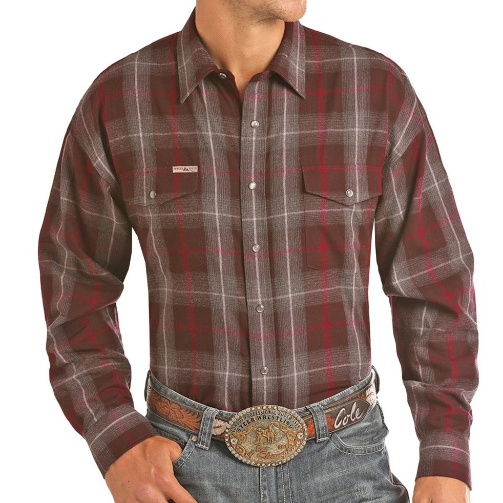A Poplin red/grey plaid western shirt for men made by Powder River Outfitters.
