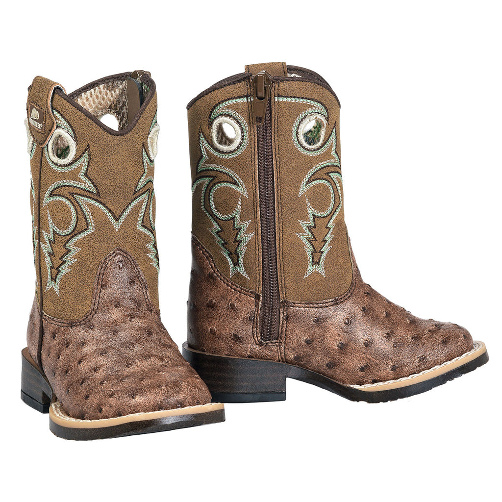The Brant Toddler kids ostrich boots are a classic among our western cowboy/cowgirl boot collection.