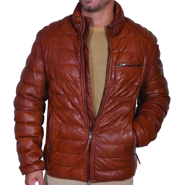 Scully Ribbed Leather Jacket Mens Outerwear Puffy Jacket Cowboy Western Wear Head West Bozeman Montana