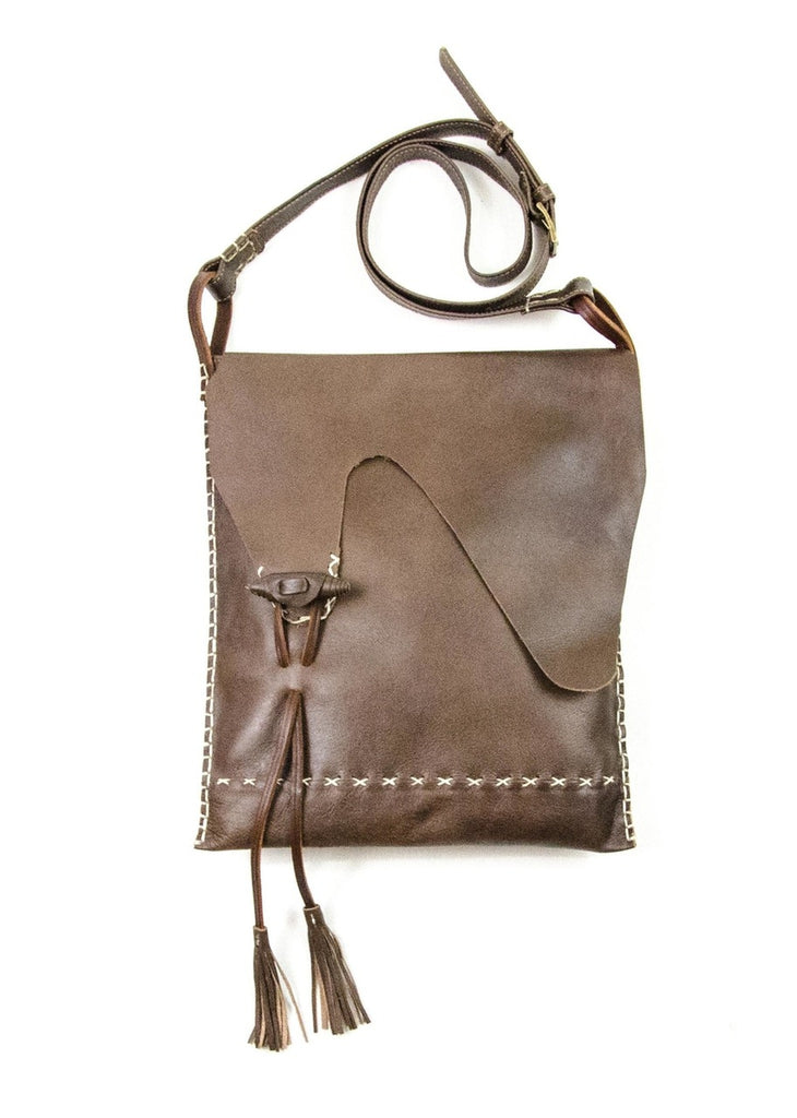 Waxed Leather Tote with Flap