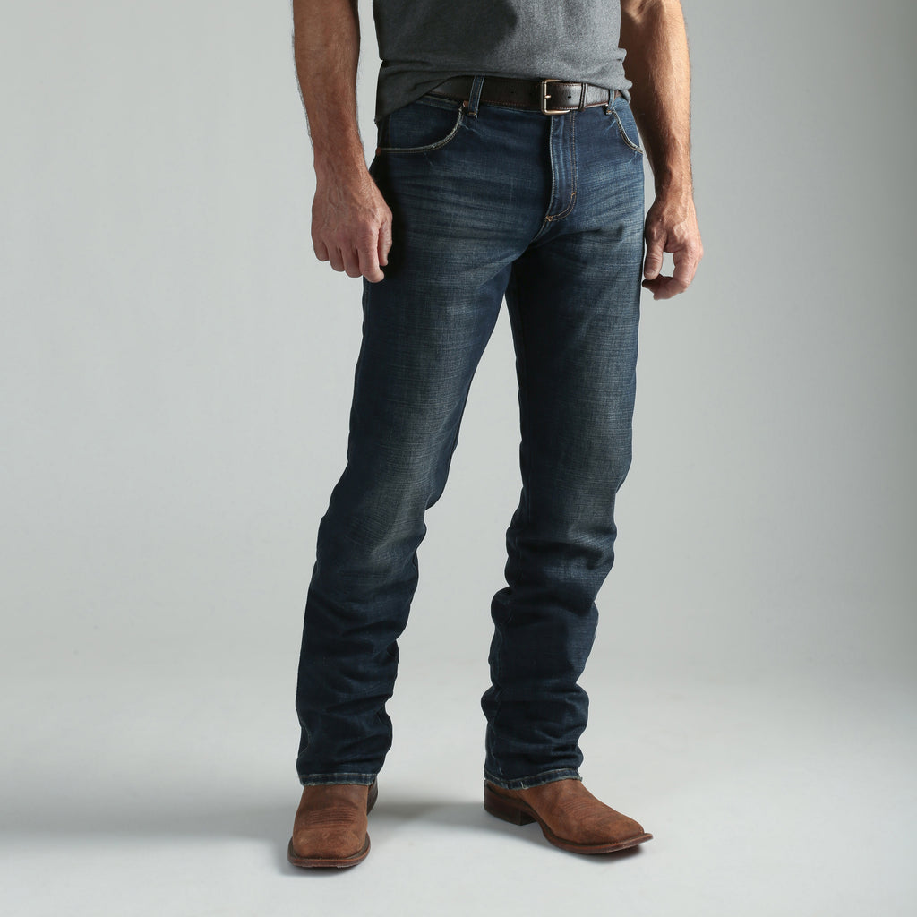 The Wrangler Retro Premium Jean for men. The jeans fit over boots and are a slim straight denim style. Find 88MWZJA at Head West in Bozeman, Montana!