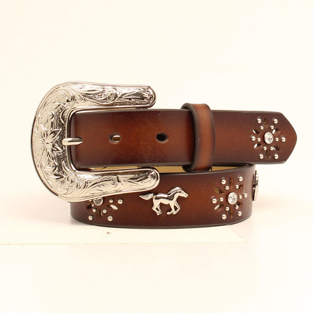 Silver Horse + Horseshoe Leather Belt - headwestbozeman
