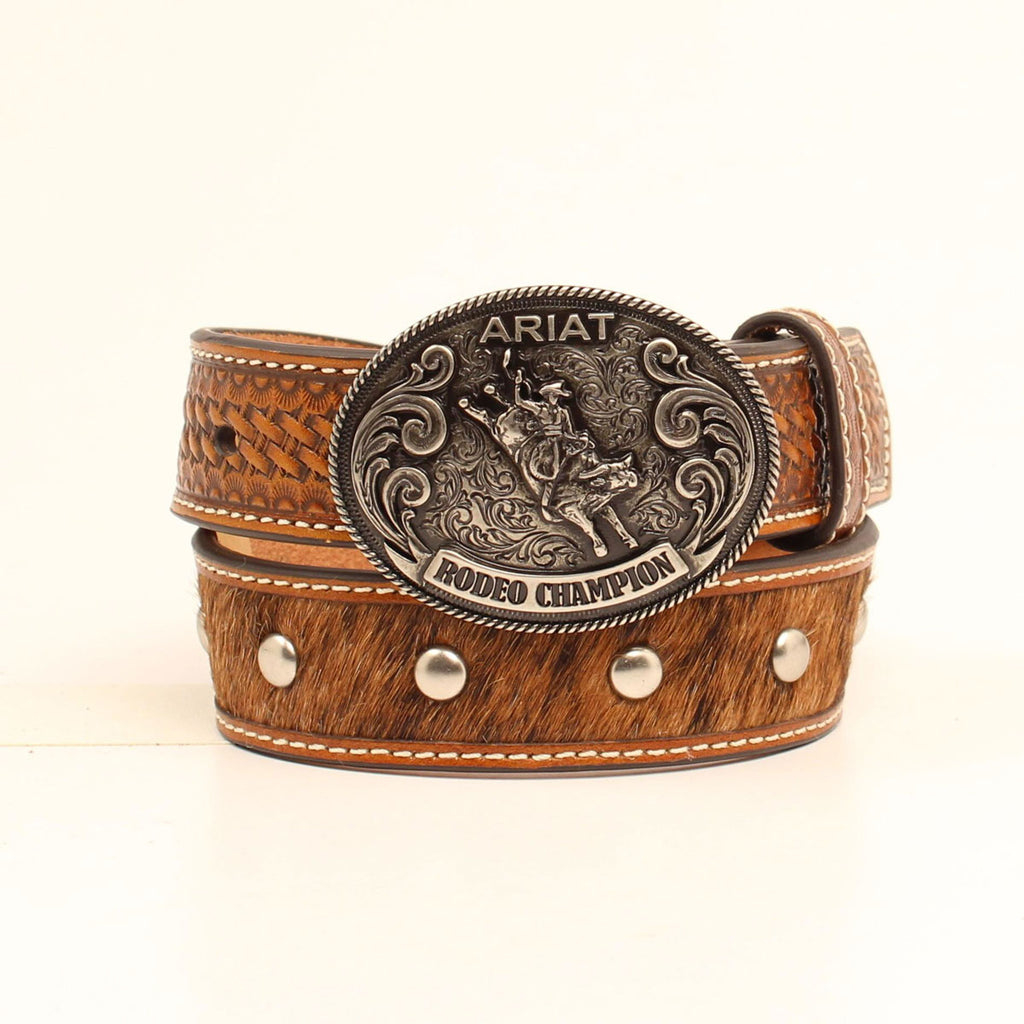 Cowhide Tooled Leather Belt - headwestbozeman