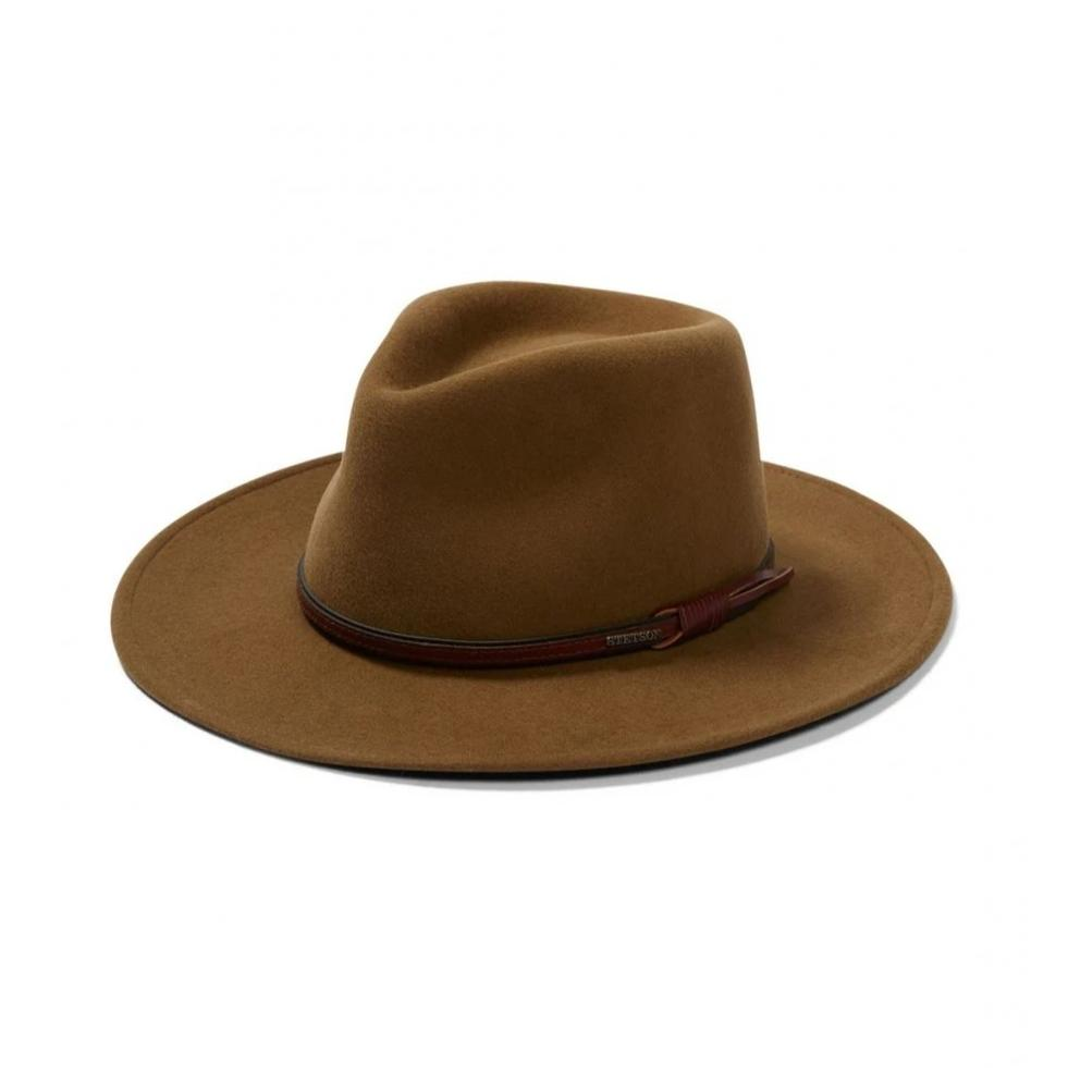 The Stetson Bozeman hat is made with water repellent wool and styled with a classic pinch front crown.