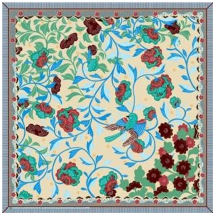 Floral & Swallow Silk Scarf