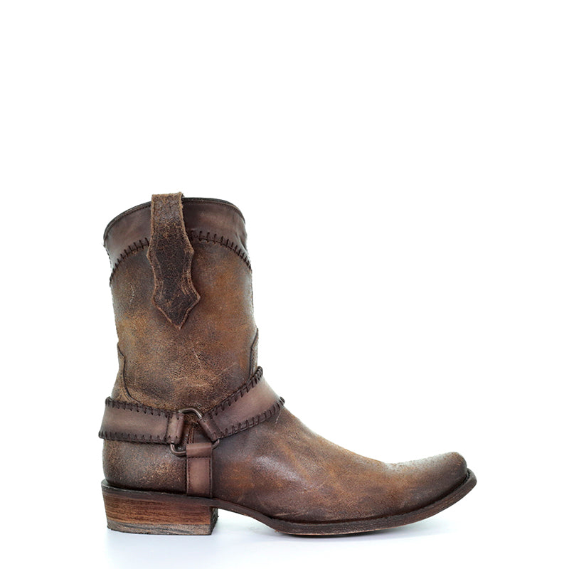 The cognac harness ankle boot is made with cowhide leather and features intricate design with extreme durability. Western boot on sale.