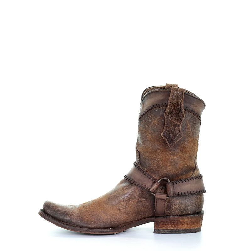 The cognac harness ankle boot is made with cowhide leather and features intricate design with extreme durability. Western cowboy boot on sale.