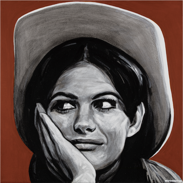 Local Artist Will Hunter Bozeman Montana Claudia Cardinale Portrait Painting Cowgirl
