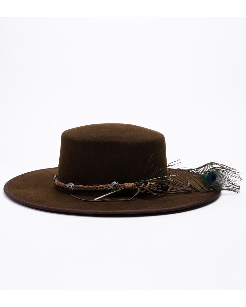 "Classic western cowboy chocolate brown felt hat with an updated silhouette, 4"" brim-woven leather hat band with conchos and feather included."